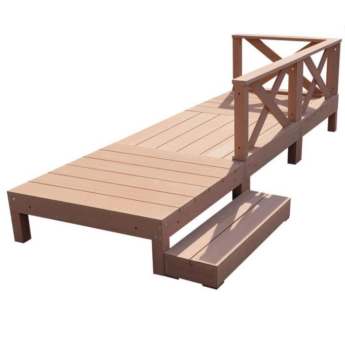 アイウッド人工木デッキ7点セット0.75坪クロスフェンスロータイプナチュラル・・・