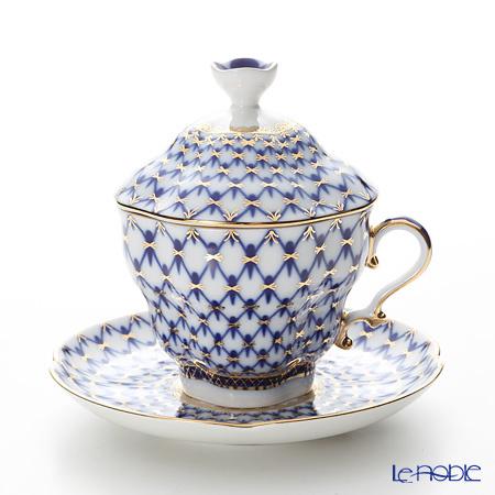 ロシア食器 インペリアル・ポーセリン コバルトネット ティーカップ&ソーサ・・・
