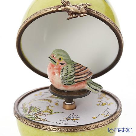 リモージュボックス/エッグボックス リモージュ グリーン 鳥 (オルゴール付・・・
