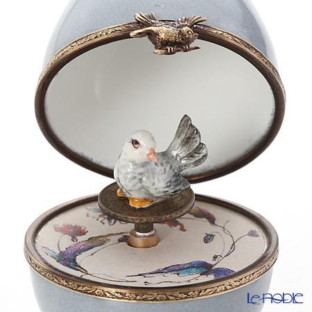 リモージュボックス/エッグボックス リモージュ グレイ 鳥 (オルゴール付:・・・
