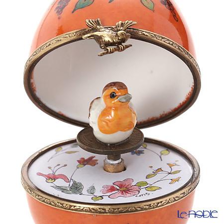 リモージュボックス/エッグボックス リモージュ オレンジ 鳥 (オルゴール付・・・