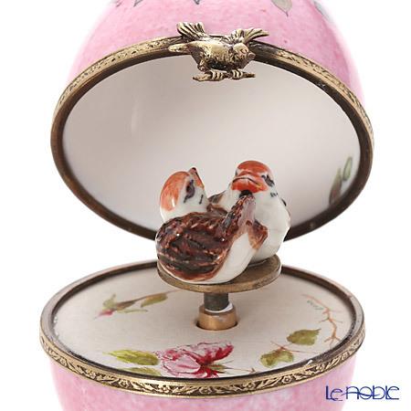 リモージュボックス/エッグボックス リモージュ ピンク 2羽の鳥 (オルゴール・・・