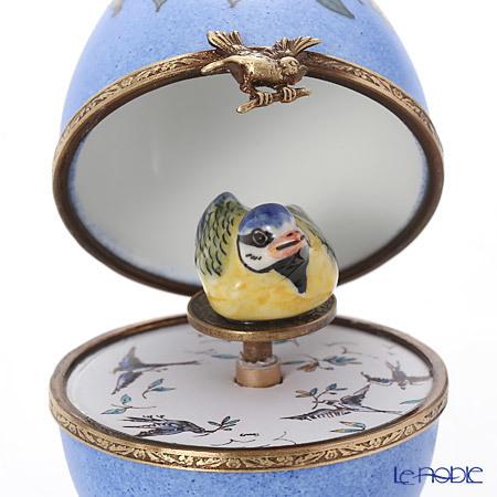 リモージュボックス/エッグボックス リモージュ ブルー 鳥 (オルゴール付:・・・
