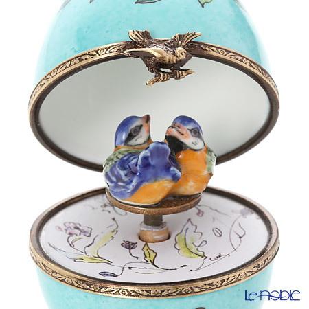 リモージュボックス/エッグボックス リモージュ ターコイズ 2羽の鳥 (オルゴ・・・