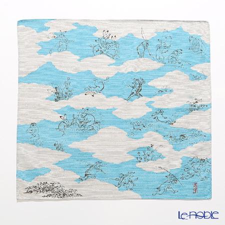 むす美 風呂敷 綿100% 日本製 20826-101 チーフ鳥獣人物戯画 雲取り ブルー ・・・