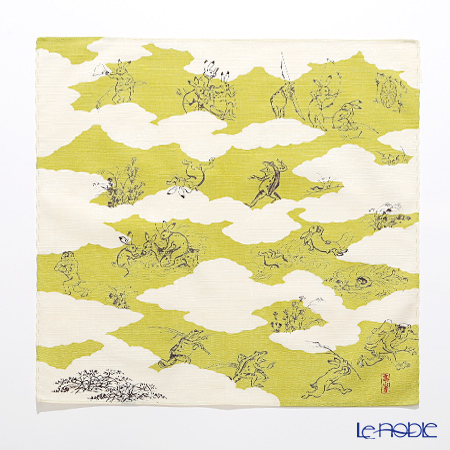 むす美 風呂敷 綿100% 日本製 20826-102 チーフ鳥獣人物戯画 雲取り グリー・・・