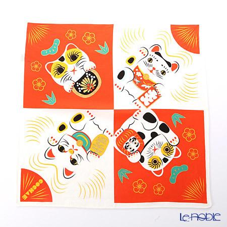 むす美 風呂敷 綿100% 日本製 20464-105 48 福コチャエ 招き猫コウハク 48c・・・