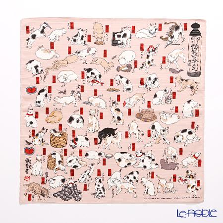 むす美 風呂敷 綿100% 日本製 20720‐114 チーフ隅田川 猫飼好五十三疋 ピン・・・