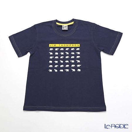 ジムトンプソン 子供服 Tシャツ S(4-7歳) ホワイトゾウ36/ダークブル・・・
