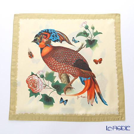 ジムトンプソン クッションカバーシルク フリル 0258A 南国の鳥/花/蝶 ベー・・・