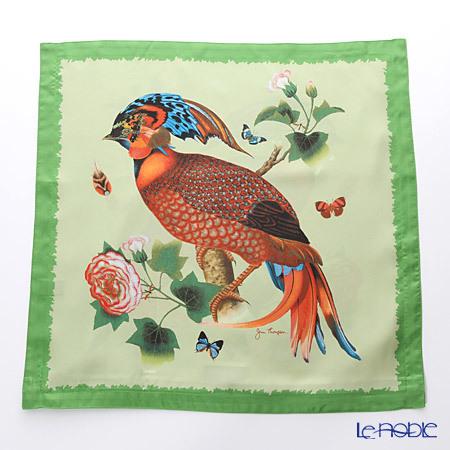 ジムトンプソン クッションカバーシルク フリル 0258B 南国の鳥/花/蝶 グリ・・・
