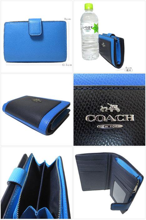 コーチ COACH 財布 F53839 カラーブロック ミディアム コーナージップ 両開き財布 SVEWK(ブルー系×ダークネイビー系) f53839-svewk 商品画像2:SanAlpha(サンアルファ)