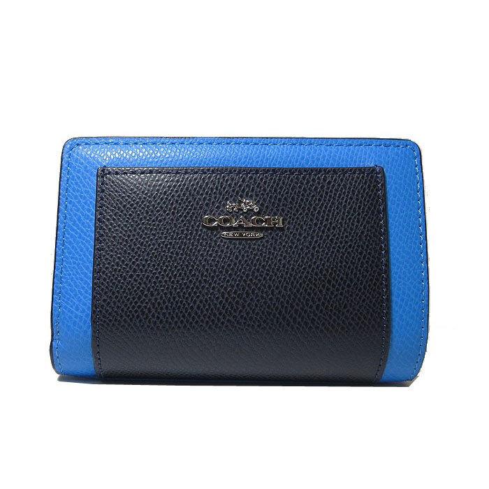 コーチ COACH 財布 F53839 カラーブロック ミディアム コーナージップ 両開き財布 SVEWK(ブルー系×ダークネイビー系) f53839-svewk 商品画像1:SanAlpha(サンアルファ)