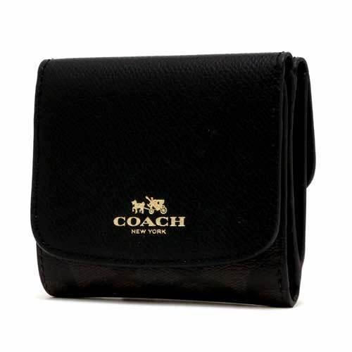 COACH コーチ シグネチャー PVC レザー スモール ウォレット / 二つ折り財布 ・・・