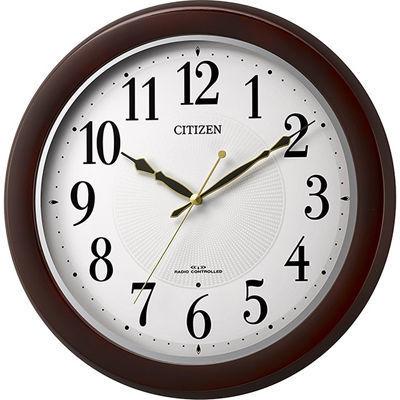 リズム時計 電波掛時計 8MYA37-006 茶
