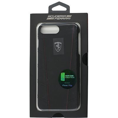 エアージェイ FERRARI PU leather Hard Case with contrasted piping - Black・・・