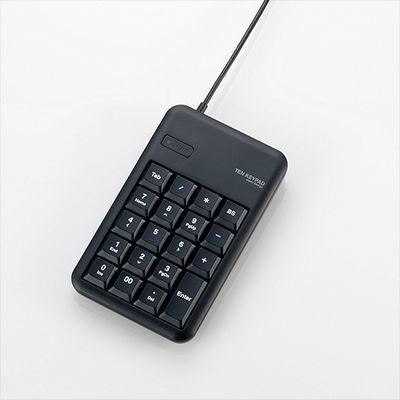 エレコム 有線テンキーボード/Sサイズ/メンブレン/高耐久/USBハブ付/ブラック・・・
