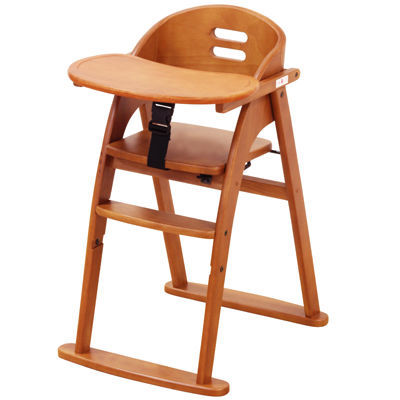 大和屋 Bean(ビーン)木製ワンタッチハイチェア テーブル付 LB(ライトブラウン・・・