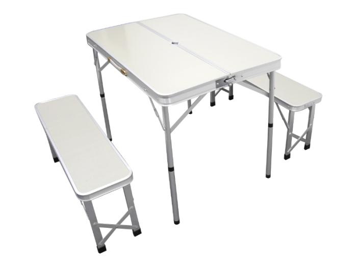 レジャーテーブル ベンチセット / 折畳み アルミ テーブル パラソル穴付・・・