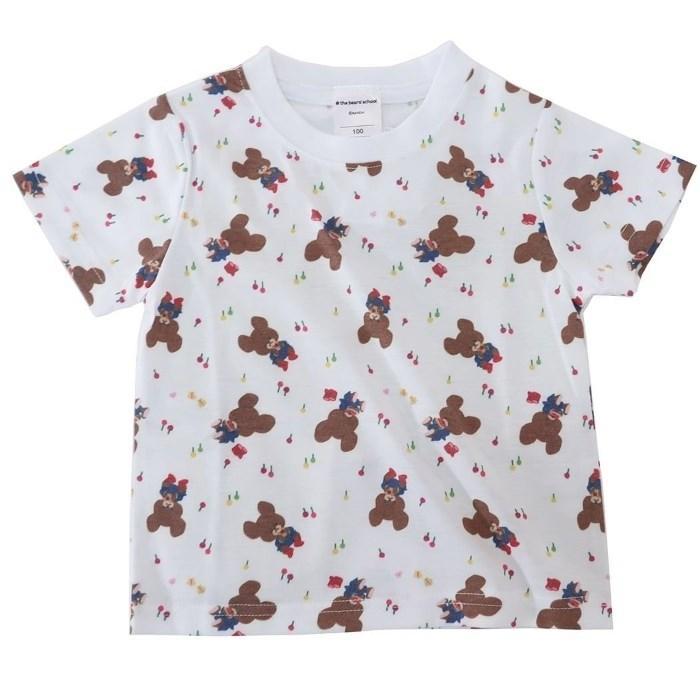くまのがっこう[子供用Tシャツ]キッズT-SHIRTS ジャッキー総柄[100サイズ]