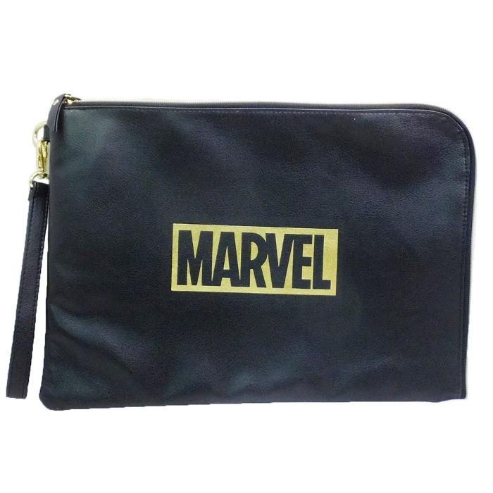 MARVEL クラッチバッグ ドキュメントポーチ 合皮ブラック ロゴ マーベル:シネマコレクション アウトレット