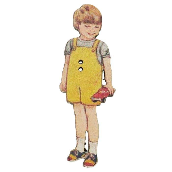 アトリエボヌールドゥジュール 手芸用品 フランス製木製飾りボタン 黄色いパンツの男の子 ハートアートコレクション ハンドクラフト おしゃれ 手作り 雑貨 グッズ