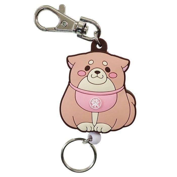 忠犬もちしば リール式 ラバー キーホルダー キーリング さくら 柴犬 エスケイジャパン 鍵ホルダー プレゼント キャラクターグッズ