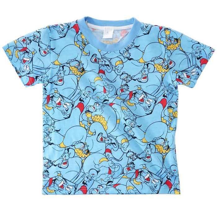 アラジン[子供用Tシャツ]キッズT-SHIRTS ジーニーぎっしり 総柄 ディズニー[1・・・