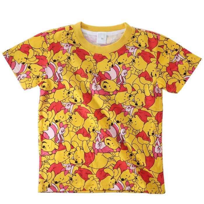 くまのプーさん[子供用Tシャツ]キッズT-SHIRTS プー&ピグレット ぎっしり 総・・・