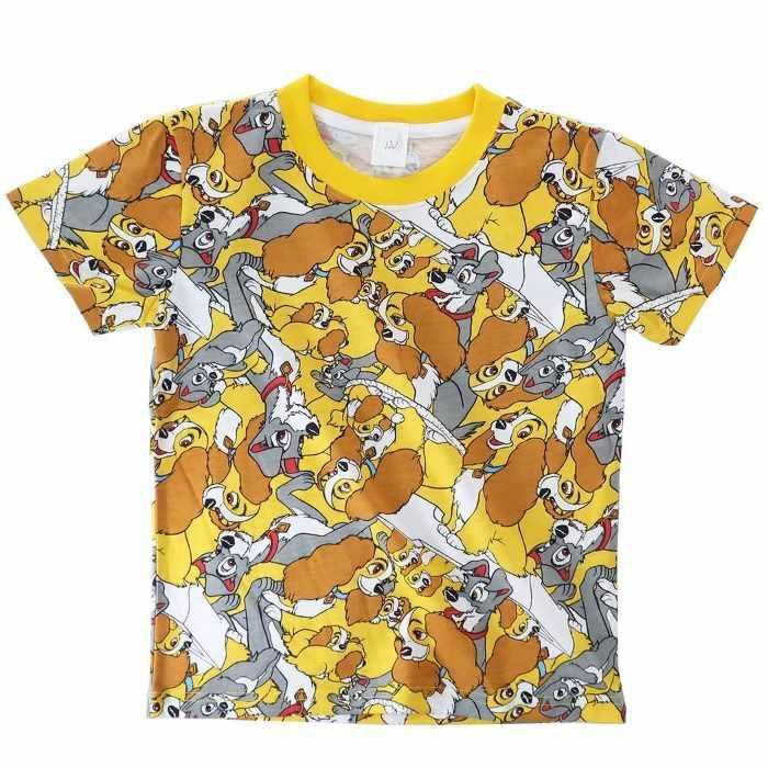 わんわん物語[子供用Tシャツ]キッズT-SHIRTS ぎっしり 総柄 ディズニー[120サ・・・