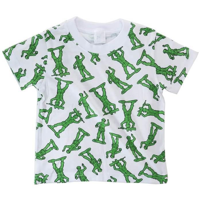 トイストーリー[子供用Tシャツ]キッズT-SHIRTS グリーンアーミーメン総柄 デ・・・