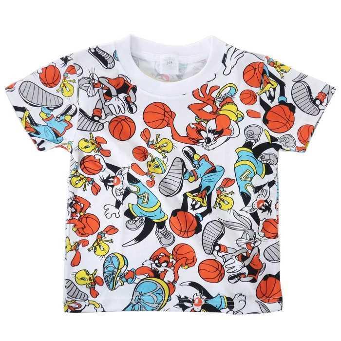 ルーニーテューンズ[子供用Tシャツ]キッズT-SHIRTS バスケ 総柄[100サイズ]