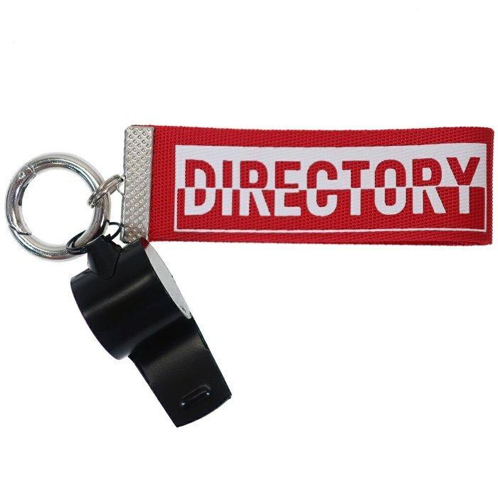 ホイッスル付き ロゴ テープ キーホルダー DIRECTORY キーリング レッド クラックス 12cm プチギフト おしゃれ グッズ