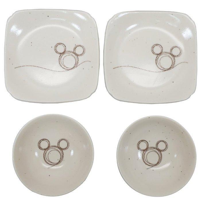 ミッキーマウス 食器ギフトセット ペア取皿 4枚セット 大 ステッチライン ディズニー 三郷陶器 プレゼント キャラクター グッズ