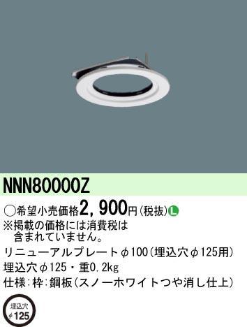 NNN80000Z パナソニック リニューアルプレート