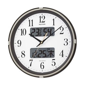 リズム時計 温度湿度計付電波掛時計 『フィットウェーブリブ』 4FYA07SR06
