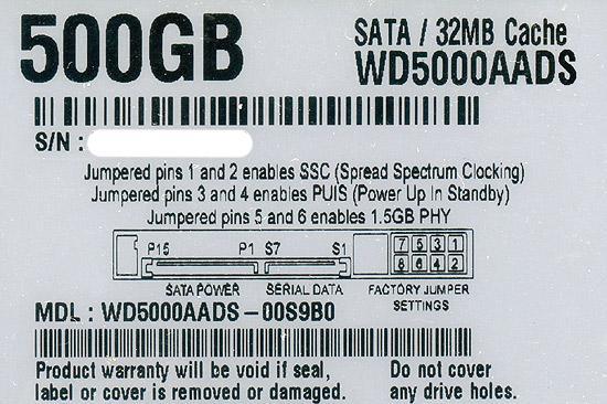 Western Digital製HDD WD5000AADS 500GB SATA300