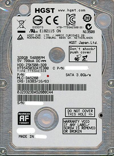 HITACHI ノート用HDD 2.5inch HTS545032A7E380 320GB