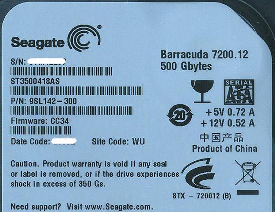 SEAGATE製HDD ST3500418AS 500GB SATA300 7200