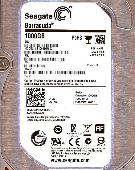 SEAGATE製HDD ST1000DM003 1TB SATA600 7200