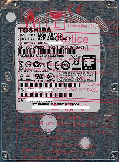 TOSHIBA(東芝) ノート用HDD 2.5inch MQ01ABF032 320GB