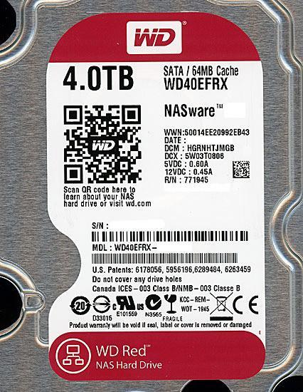 Western Digital製HDD WD40EFRX 4TB SATA600 商品画像2:オンラインショップ エクセラー