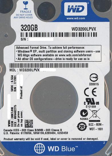 WesternDigital HDD 2.5inch WD3200LPVX 320GB 7mm