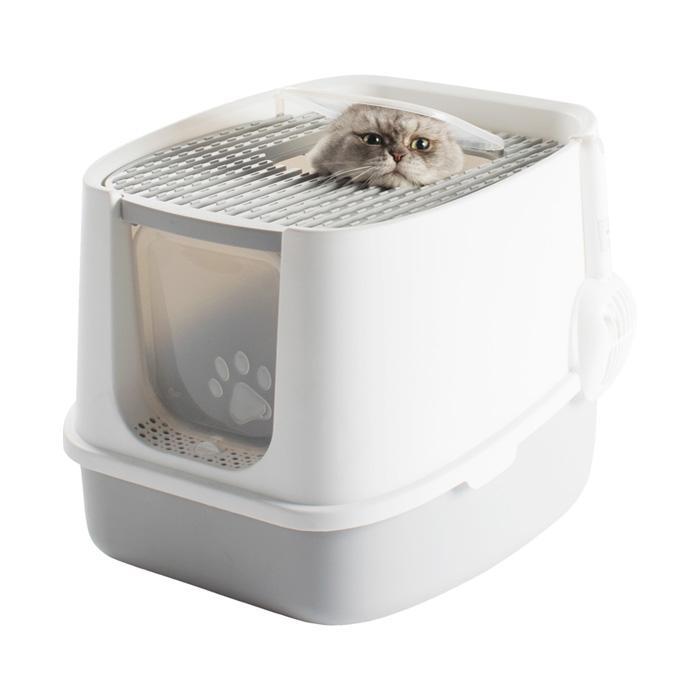 Sunruck ツードア猫トイレ SR-TCT01-GY グレー