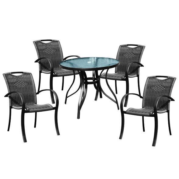 【送料無料】ガーデン テーブル 椅子 5点 セット 籐風 ラタン アルミ製ガーデン テーブル セット garden table set ガーデンテーブルセット ガーデンファニチャー  ウッドデッキ10298