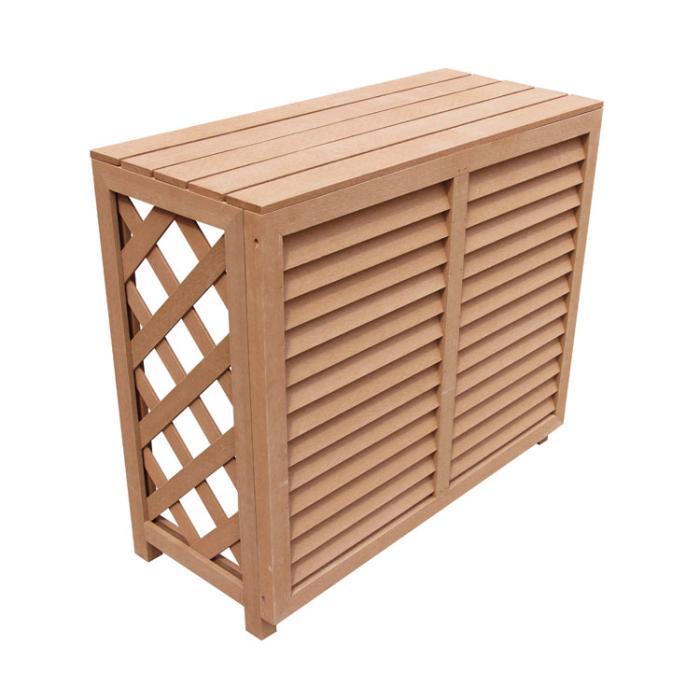 大型エアコン室外機カバーアイウッド人工木製880ルーバー風 ナチュラル 組立式 ルーバー フェンス ガーデンファニチャー ファニチャー ウッドデッキ 目隠し ガーデンテーブル ソーラー 日除け10171