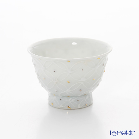 京焼・清水焼 煎茶碗 S0980 白磁金銀彩七宝紋 洸春窯/高島慎・・・