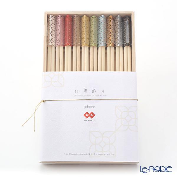 cohana 折り紙式 お箸飾り・箸置き10個セット ISEMITATE 24cm祝い箸付 蓋付木・・・