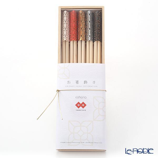 cohana 折り紙式 お箸飾り・箸置き5個セット ISEMITATE 24cm祝い箸付 木箱入 ・・・