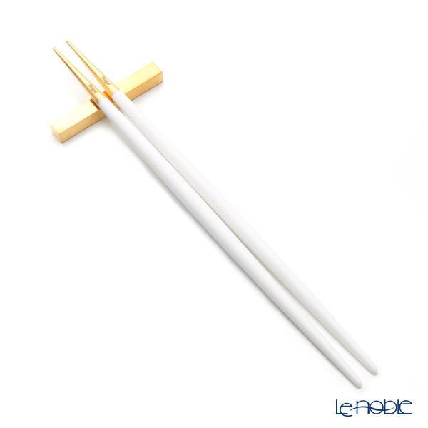 クチポール ゴア GOA ホワイト/ゴールド 箸+箸置セット 23cm マット仕上げ